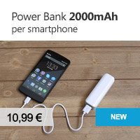 power bank 2000mAh per smartphone e cellulare