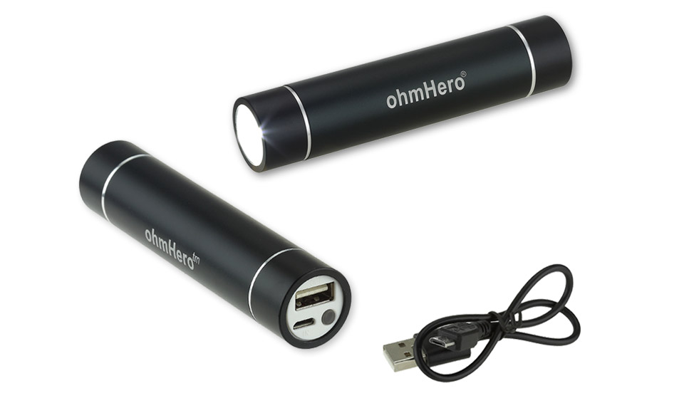 Power Bank ohmHero 2600mAh Reali cella Samsung -TORCIA POTENTE- Batteria Esterna